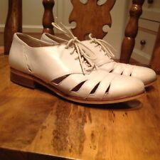 Clarks Off White Stone Cut Out Leather Lace Up Shoes Brogues Uk 3 D Flats