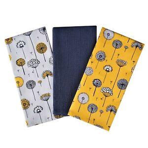 Retro Meadow Tea Towels X3 100% Cotton Decorative Kitchen Cooking Dish Linen BBQ