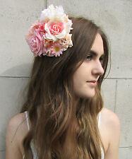 Peach Pink & Ivory Rose Flower Fascinator Headpiece Races Floral Rockabilly Z87