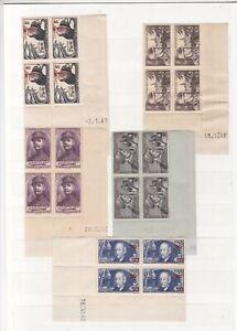 FRANCE 9 blocs de 4 coins dates - dont n° 493- 312-455-(448/50-492-451 cote 450€