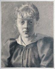 Richard Pietzsch, Bildnis eines blondlockigen jungen Mädchens Kohle 1892 Dresden