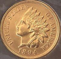 1894 Indian Head Penny 4 SHARP DIAMONDS **LOW MINTAGE ***KEY DATE***Cleaned