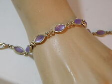 """Vtg Lavender Pink Frosted Marquise Moonglow Rhinestone Silver 7.5"""" Bracelet 8e24"""