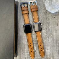 Für Apple Uhr Serie 6 5 & Se 44mm Neu Gebleicht Orange Leder Iwatch Armband