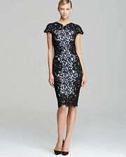 NWT $408 Tadashi Shoji Contrast Embroidered Lace Panel Black / Navy Dress 8