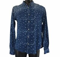 Scotch And Soda Mens Blue Pattern Shirt Size L Button Up Long Sleeve Collar