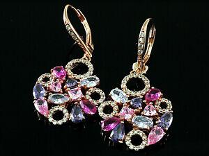 925 Silber Ohrringe mit Zirkonia Steinen  35mm Länge  1 Paar mit Brisur