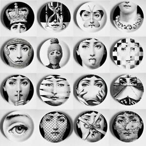 Fornasetti Style Wall Dish Hanging Plate Milan Black & White Print Decor Home