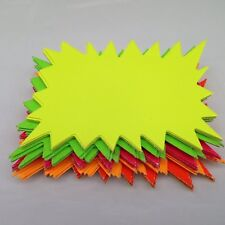 60 x neon flourescent stars - 10cm x 7.5cm assorted neon flashs cards
