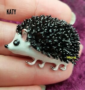 Vintage Style Hedgehog Pendant Silver Tone Black Crystal Brooch Enamel Pin Gift