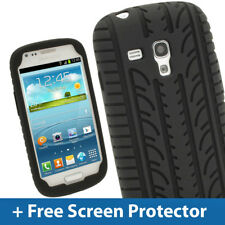 Black Silicone Tyre Skin for Samsung Galaxy S3 III Mini I8190 Android Case Cover