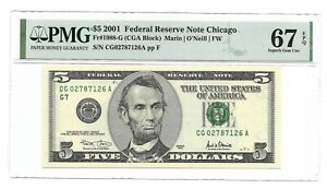 2001 $5 CHICAGO FRN, PMG SUPERB GEM UNCIRCULATED 67 EPQ BANKNOTE