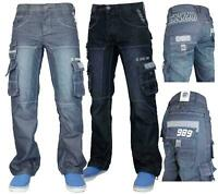 Men Enzo Jeans Designer Branded Cargo Combat Denim Pants Trousers All Waist Size