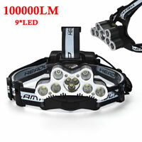 Bright Hiking 100000lm 9xT6 LED USB Rechargeable 18650 Headlamp Head Light Torch
