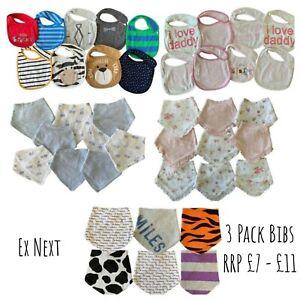 Ex N**T Baby Boys Girls 3 Pack Dribble Bandana Popper Bibs RRP £7 - £11 New