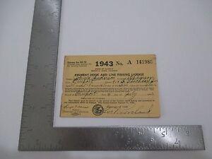 Vintage 1943 Illinois Resident Hook & Line Fishing License John R Anderson S2595