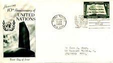 1955 UNITED NATIONS 10TH ANNIV. 4 CENT ISSUE  FLEETWOOD CACHET MACHINE ADDR FDC