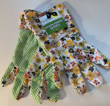 New True Living Outdoors Yellow Pink Floral Print Canvas Garden Gloves One Size