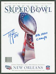 """Patriots Ty Law """"SB XXXVI Champs"""" Signed SB XXXVI Program BAS Witnessed #WK36958"""
