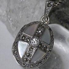 SET edles Medaillon z.Öffnen Silberkette 925 Silber Handarbeit Markasit Perlmutt