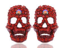 Skeleton Bone Stud Earrings New Halloween Scarlet Neon Red Crystal Rhinestone