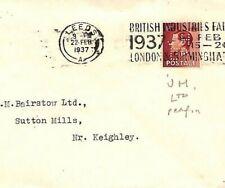 GB KEVIII PERFIN Cover 1937 *J.H/Ltd* Leeds Keighley Yorks {samwells-covers}JJ43