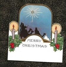 Vintage Whitneymade? Christmas Card Three 3 Kings Holy Star Embossed Candles