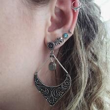 5Pcs/Set Boho Antique Ethnic Women Elephant Carved Moon Dangle Earrings Utility