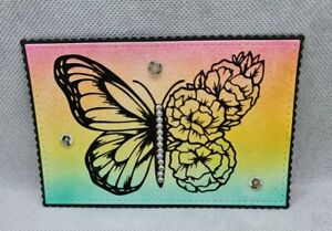 2 INK BLENDED BUTTERFLY CARD TOPPER DIE CUTS....STAMPIN UP COLOURS..CARDMAKING