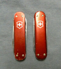 Lot of 2 Victorinox Companion 58mm Swiss Army Knives, Red Alox