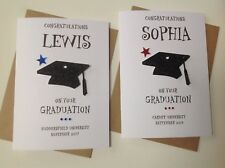 Handmade personalised Graduation card- Personalised with name, place and date.