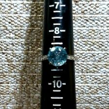 SKY BLUE TOPAZ STAINLESS STEEL solitaire RING - SIZE 9- TGW 4.15  CTS