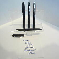 SET OF 4 LEED'S BROAD BLUE INK LIQUID ROLLERBALL PENS- BLACK BODY-VALUE PRICED