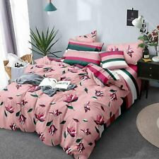 Pink Floral Print Handmade Cotton Comforter Double Bedding Set of 4 Pieces