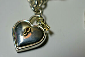 Rare Tiffany & Co Padlock Heart & Key Link Necklace 18k & Sterling Silver, Pouch