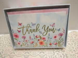 PUNCH STUDIO Boxed Thank You Cards NIB 12 BLANK Inside~ Butterfly Floral Print
