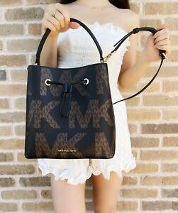 Michael Kors Suri Large Bucket Crossbody Drawstring Handbag Graphic Logo Black