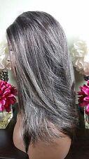 Beautiful Gray/Auburn Nape Lace Front Wig Soft Long Layers Feathered