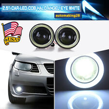 "2X 2.5"" Car Fog Light LED Projector COB White Angel Eye Halo Ring Driving Bulb"