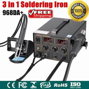 3in1 YIHUA 968DA+SMD Hot Air Gun Soldering Iron Station Rework Welder Tool UK