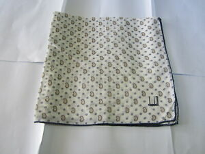 """USED WHITE PAISLEY PATTERN COTTON 18""""POCKET SQUARE HANDKERCHIEF HANKY FOR MEN"""