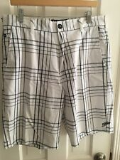 Men's Billabong Twill Walking Short, White/Navy Plaid Size 34