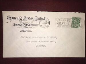 1928 Gagnon's GB Chocolates Ad Cover, Calgary To Calgary Banff Slogan Cancel
