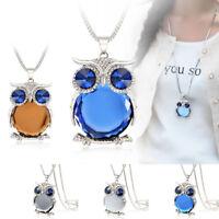 Women Fashion Crystal Rhinestone Owl Pendant Necklace Sweater Chain Jewelry Gift