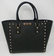 New Michael Kors Black Gold Sandrine Stud Large Leather Tote Crossbody Bag $468