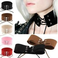 Sexy Womens Lace Up Gothic Punk Choker Vintage Velvet Leather Necklace Jewelry