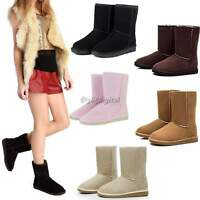 Women's Winter Warm Shoes Mid Calf Boots Fashion New 5 Sizes Suede Snow Boots