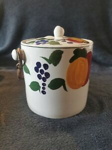 Pershore Ceramic Tea Caddy Hand Painted Fruit Design With Handle