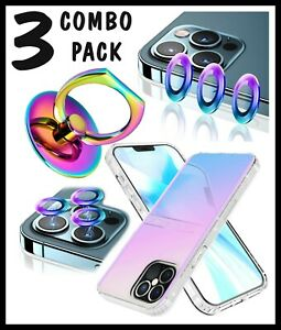 iPhone 12 Pro MAX Iridescent Rainbow Case Phone Ring Camera Lens Cover Protector