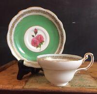 Unique Vtg E B Foley Bone China Tea Cup & Saucer Rose Wide Green Gold England